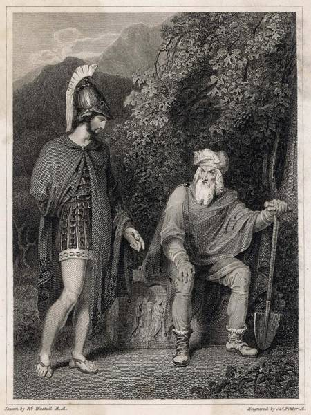 Wall Art - Drawing - Odysseus Visiting His Father, Laertes by Mary Evans Picture Library