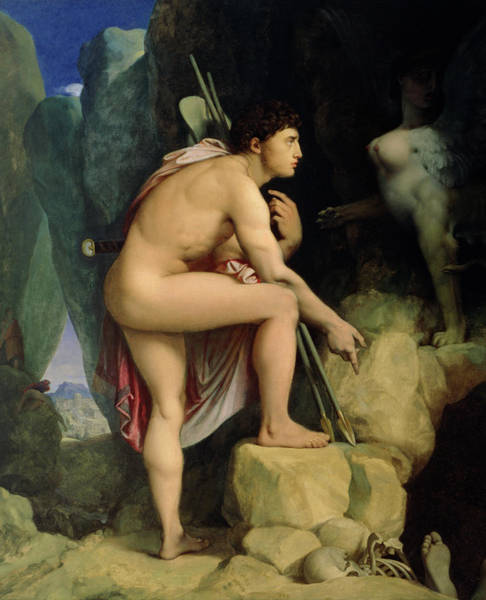 Confrontation Wall Art - Painting - Oedipus And The Sphinx by Ingres