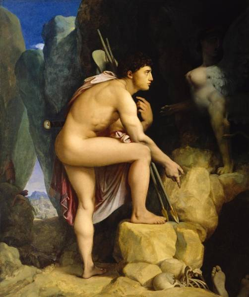 Wall Art - Painting - Oedipus And The Sphinx by Jean-Auguste-Dominique Ingres