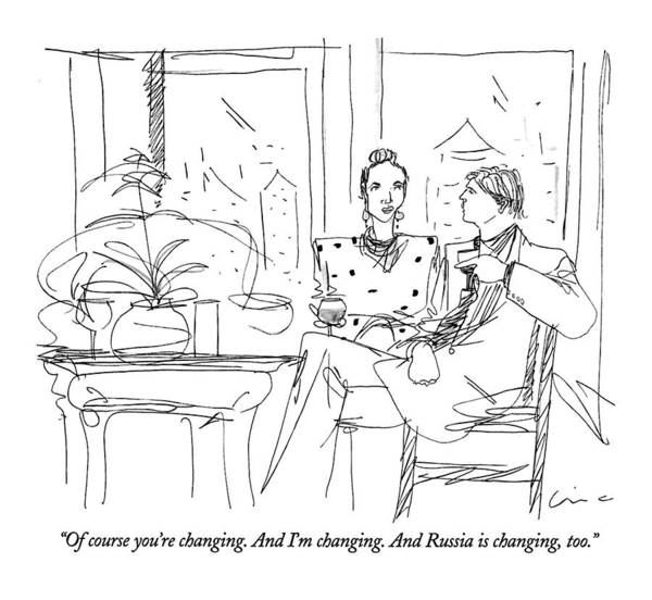 Manhattan Drawing - Of Course You're Changing. And I'm Changing by Richard Cline