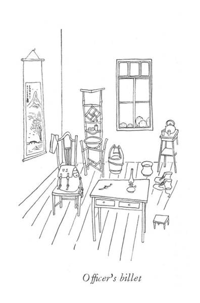 South Island Drawing - Of?cer's Billet by Saul Steinberg