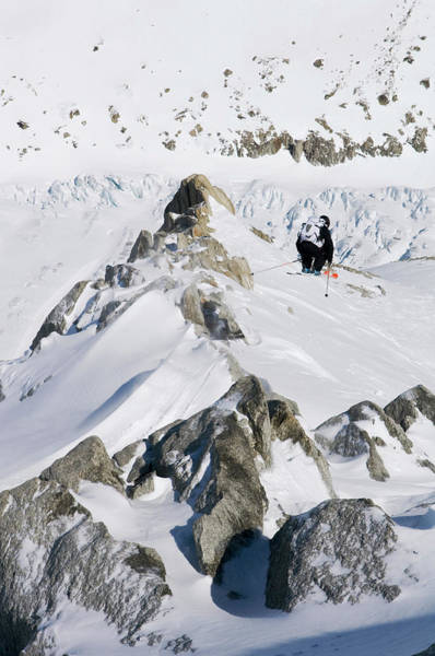 Chamonix Wall Art - Photograph - Off-piste Skiing At Les Grands Montets by Christian Aslund