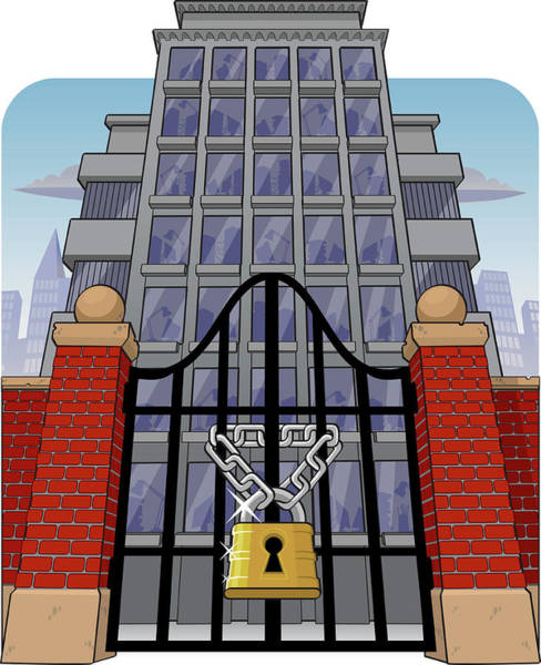 Commercialism Photograph - Office Building With Main Gate Locked by Fanatic Studio / Science Photo Library