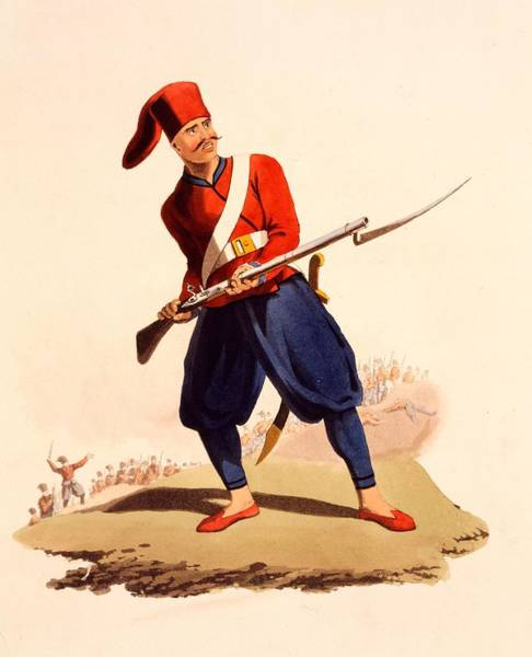 Rifle Drawing - Officer Of European Infantry Of Ottoman by Thomas Charles Wageman