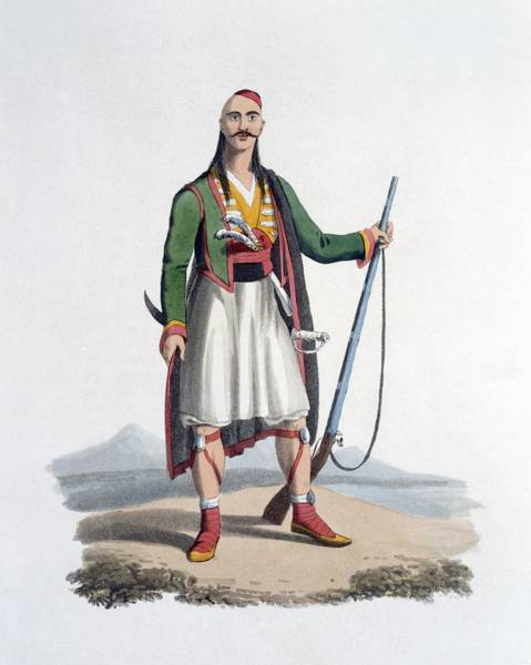Full Length Drawing - Officer Of The Spahis, 1818 by English School