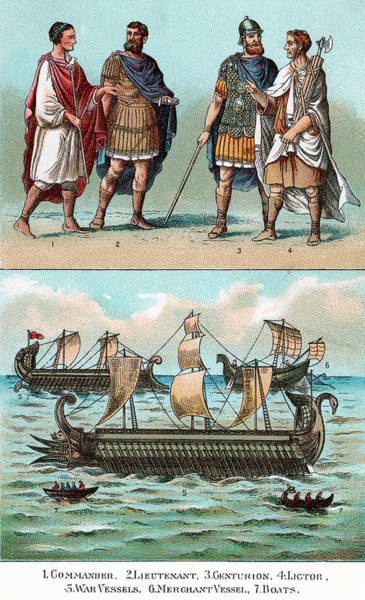 Merchant Painting - Officers And Ships Of Ancient Roman by Vintage Images