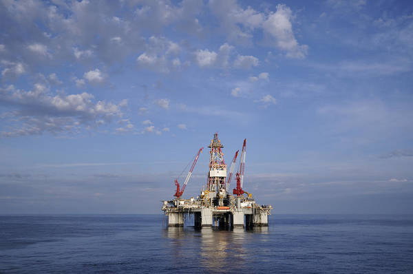 Photograph - Offshore Oil Rig And Sky by Bradford Martin