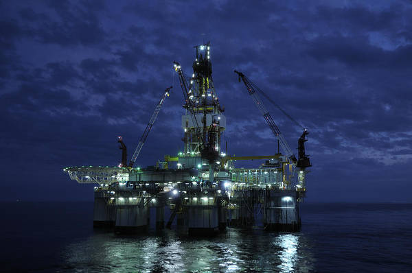 Photograph - Offshore Oil Rig At Night by Bradford Martin