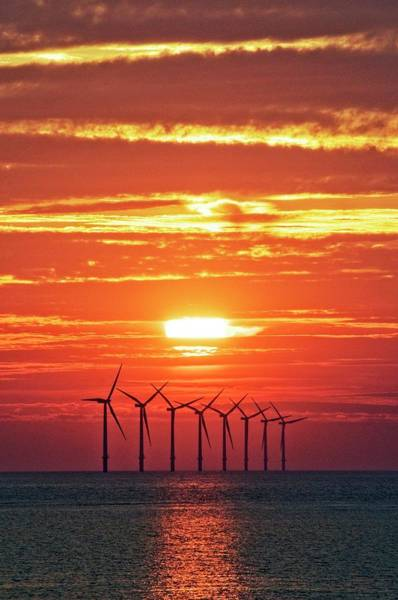 Wind Farm Photograph - Offshore Wind Turbines At Sunset by Crown Copyright/health & Safety Laboratory Science Photo Library