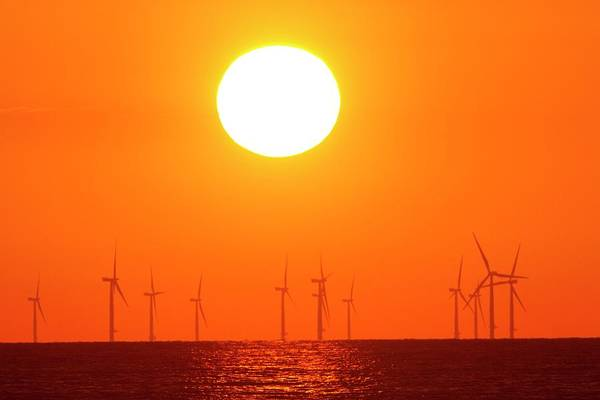 Wind Farm Photograph - Offshore Wind Turbines At Sunset by David Woodfall Images/science Photo Library
