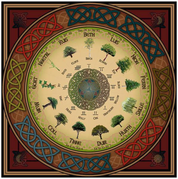 Wall Art - Digital Art - Ogham Tree Calendar by Ireland Calling