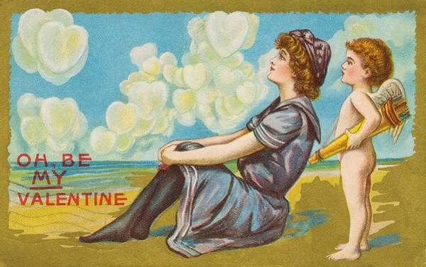 Lithography Wall Art - Painting - Oh Be My Valentine Postcard by American School