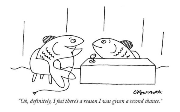 Hook Drawing - Oh, Definitely, I Feel There's A Reason by Charles Barsotti