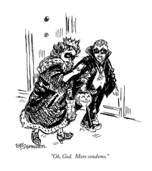 Hall Drawing - Oh, God.  More Condoms by William Hamilton