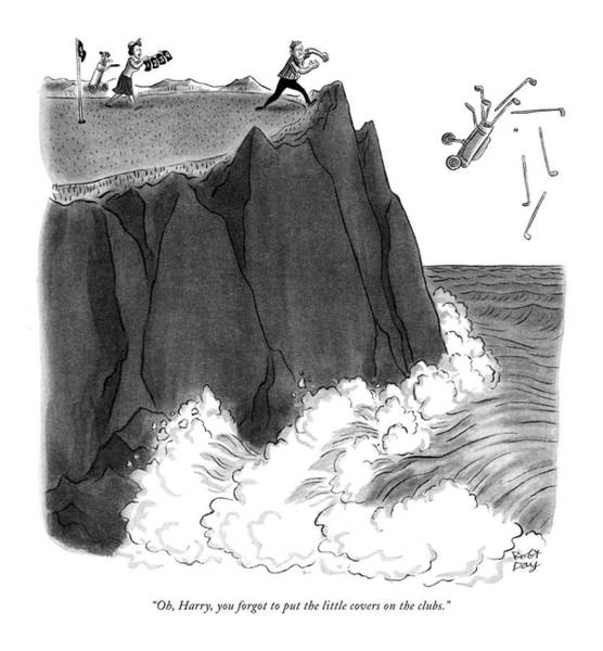 Water Sports Drawing - Oh, Harry, You Forgot To Put The Little Covers by Robert J. Day
