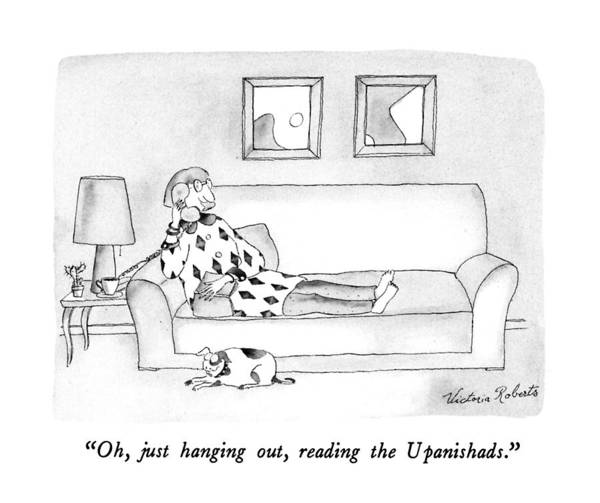 Reading Drawing - Oh, Just Hanging Out, Reading The Upanishads by Victoria Roberts