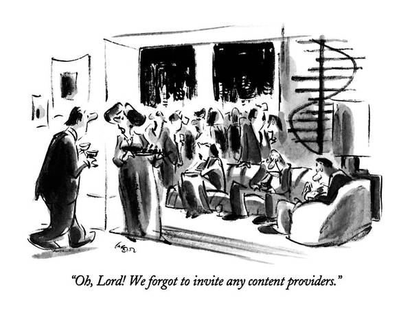 Oh Drawing - Oh, Lord!  We Forgot To Invite Any Content by Lee Lorenz