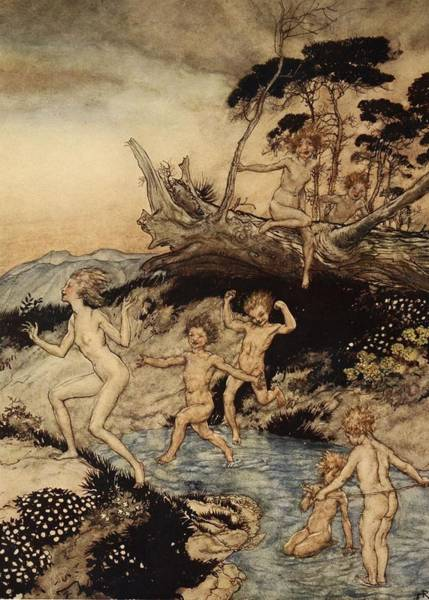 Greek Myths Wall Art - Painting - Oh What A Good Time Was That by Arthur Rackham