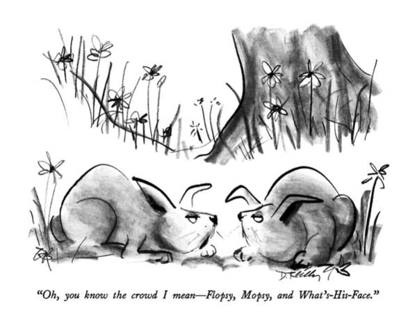 June 8th Drawing - Oh, You Know The Crowd I Mean - Flopsy, Mopsy by Donald Reilly