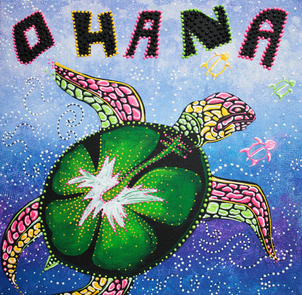 Neon Pink Painting - Ohana Means Family by Laura Barbosa