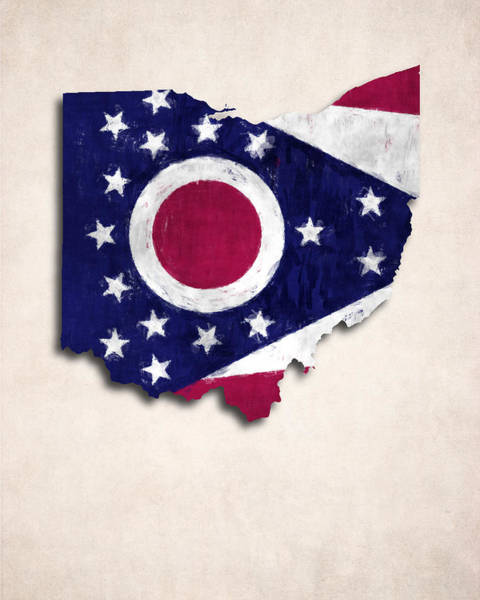 Wall Art - Digital Art - Ohio Map Art With Flag Design by World Art Prints And Designs