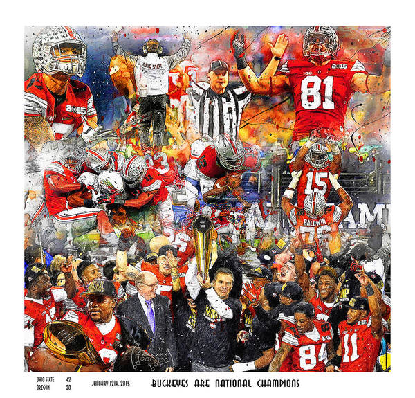 Current Wall Art - Painting - Ohio State National Champions 2015 by John Farr