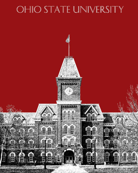 Columbus Wall Art - Digital Art - Ohio State University - Dark Red by DB Artist
