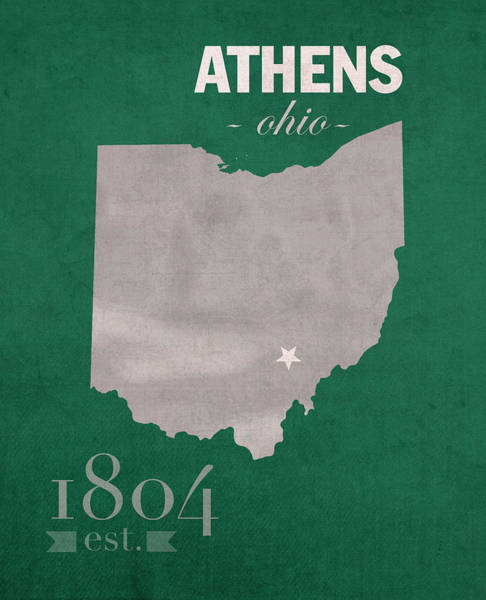 University Mixed Media - Ohio University Athens Bobcats College Town State Map Poster Series No 082 by Design Turnpike