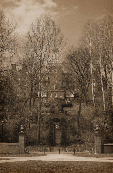 Photograph - Ohio University Bryan Hall Sepia by Karen Adams