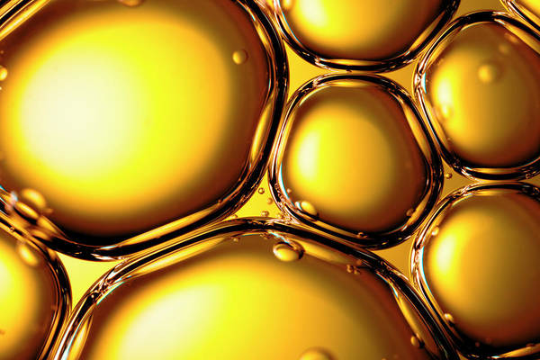 Horizontal Abstract Photograph - Oil & Water - Abstract Gold Yellow by Thomasvogel