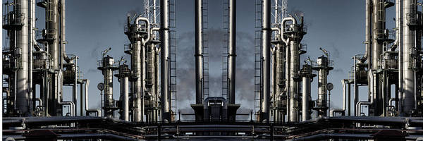 Wall Art - Photograph - Oil And Gas Refinery Panoramic View by Christian Lagereek