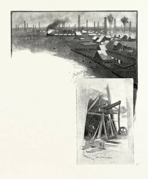 Oil Derrick Drawing - Oil Derricks, Petrolea Top Drilling A Well Bottom by Canadian School
