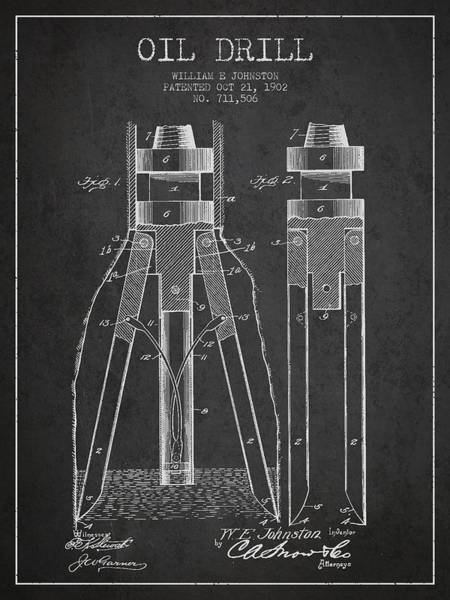 Drilling Rig Wall Art - Digital Art - Oil Drill Patent From 1902 - Dark by Aged Pixel