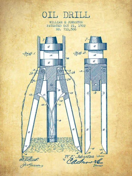 Drilling Wall Art - Drawing - Oil Drill Patent From 1902 - Vintage Paper by Aged Pixel