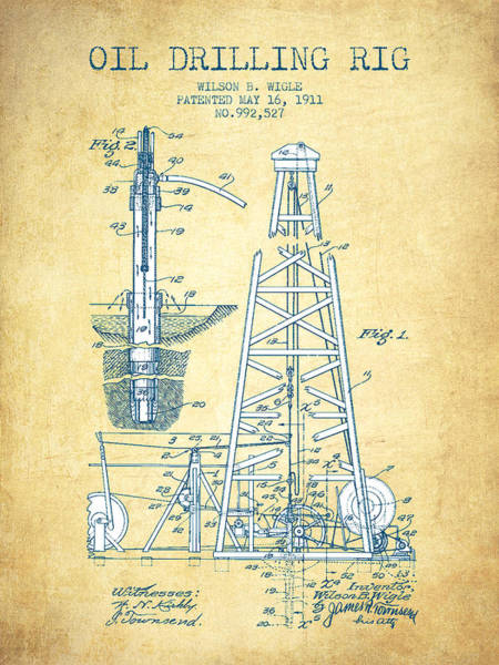 Drilling Rig Wall Art - Drawing - Oil Drilling Rig Patent From 1911 - Vintage Paper by Aged Pixel