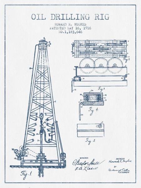 Drilling Rig Wall Art - Digital Art - Oil Drilling Rig Patent From 1916 -  Blue Ink by Aged Pixel