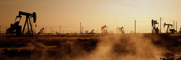 Drilling Rig Photograph - Oil Drills In A Field, Maricopa, Kern by Panoramic Images