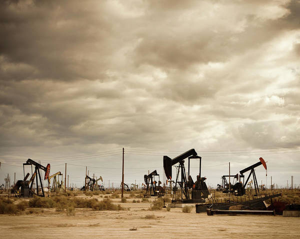 Oil Derrick Drawing - Oil Field In Desert by Design Pics Vibe