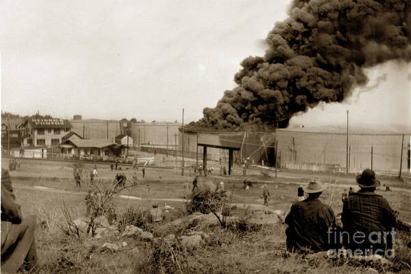 Photograph - Oil Fire Sept 14th 1924 And A. C. Heidricks Photo Studio And Home by California Views Archives Mr Pat Hathaway Archives