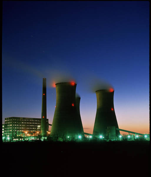 Fire Station Photograph - Oil-fired Power Station At Night by Martin Bond/science Photo Library