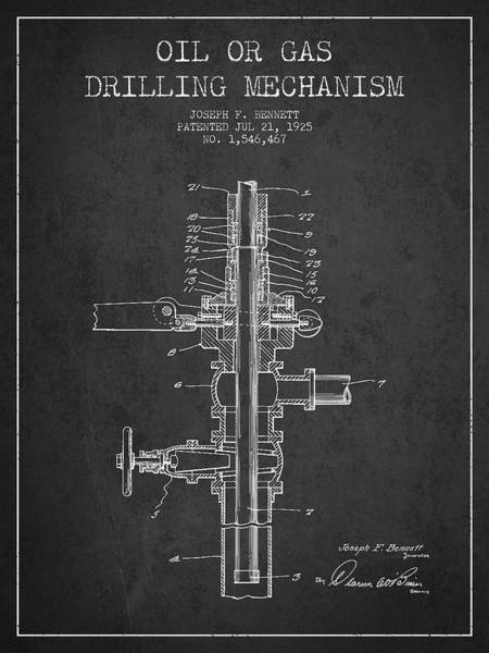 Drilling Wall Art - Digital Art - Oil Or Gas Drilling Mechanism Patent From 1925 - Dark by Aged Pixel