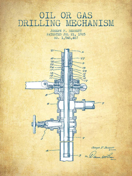 Drilling Rig Wall Art - Drawing - Oil Or Gas Drilling Mechanism Patent From 1925 - Vintage Paper by Aged Pixel