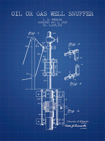 Gas Digital Art - Oil Or Gas Well Snuffer Patent From 1938 - Blueprint by Aged Pixel