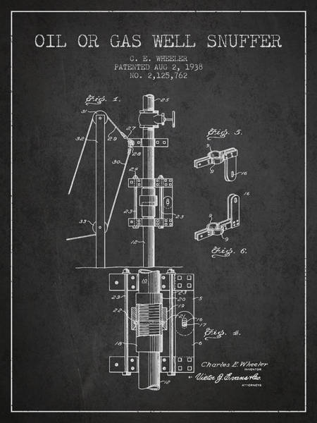 Gas Digital Art - Oil Or Gas Well Snuffer Patent From 1938 - Charcoal by Aged Pixel