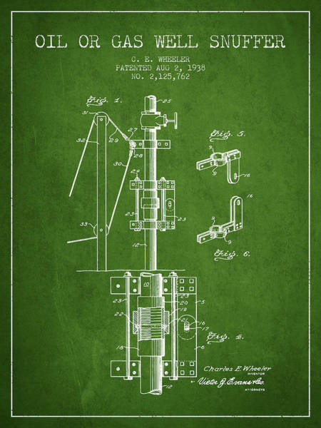 Gas Digital Art - Oil Or Gas Well Snuffer Patent From 1938 - Green by Aged Pixel
