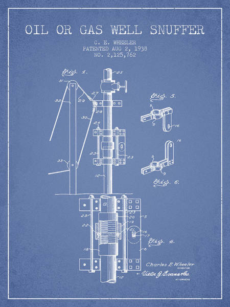 Gas Digital Art - Oil Or Gas Well Snuffer Patent From 1938 - Light Blue by Aged Pixel
