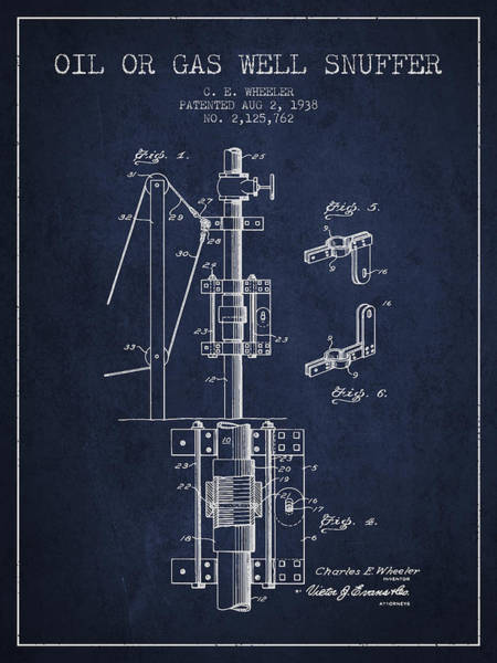 Gas Digital Art - Oil Or Gas Well Snuffer Patent From 1938 - Navy Blue by Aged Pixel