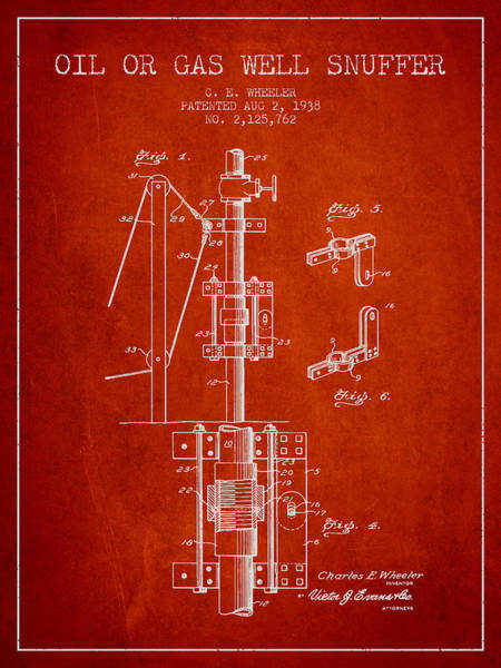 Gas Digital Art - Oil Or Gas Well Snuffer Patent From 1938 - Red by Aged Pixel