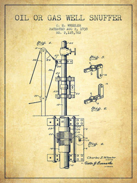 Gas Digital Art - Oil Or Gas Well Snuffer Patent From 1938 - Vintage by Aged Pixel