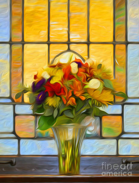 Wedding Bouquet Photograph - Oil Painted Stained Glass And Bridal Bouquet by Brian Mollenkopf